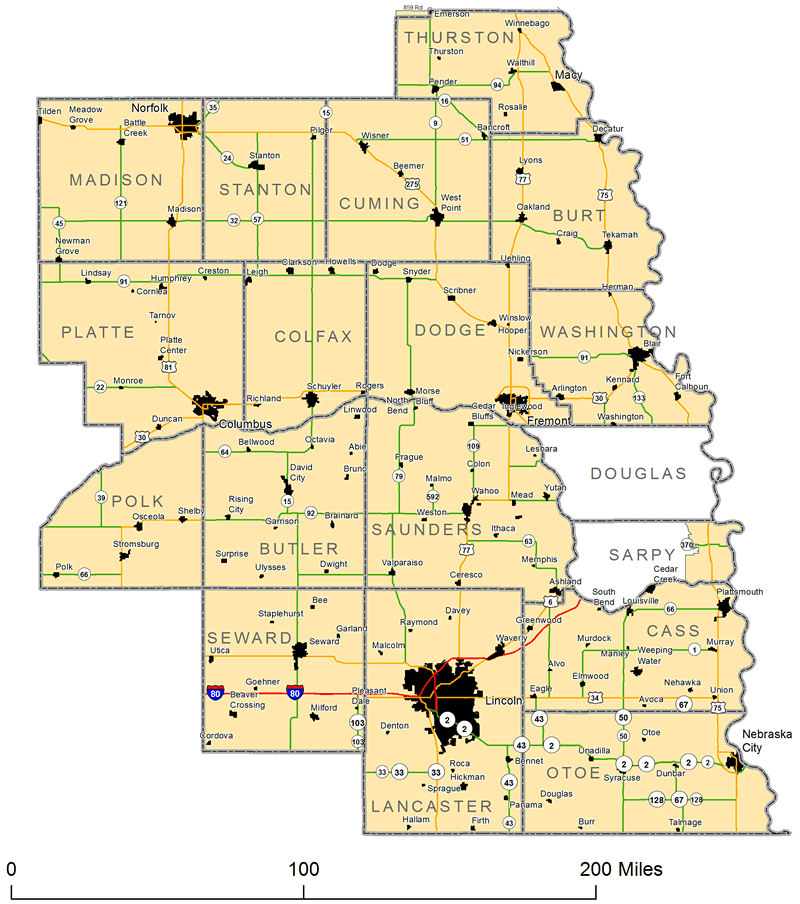 Map of Nebraska's First Congressional District